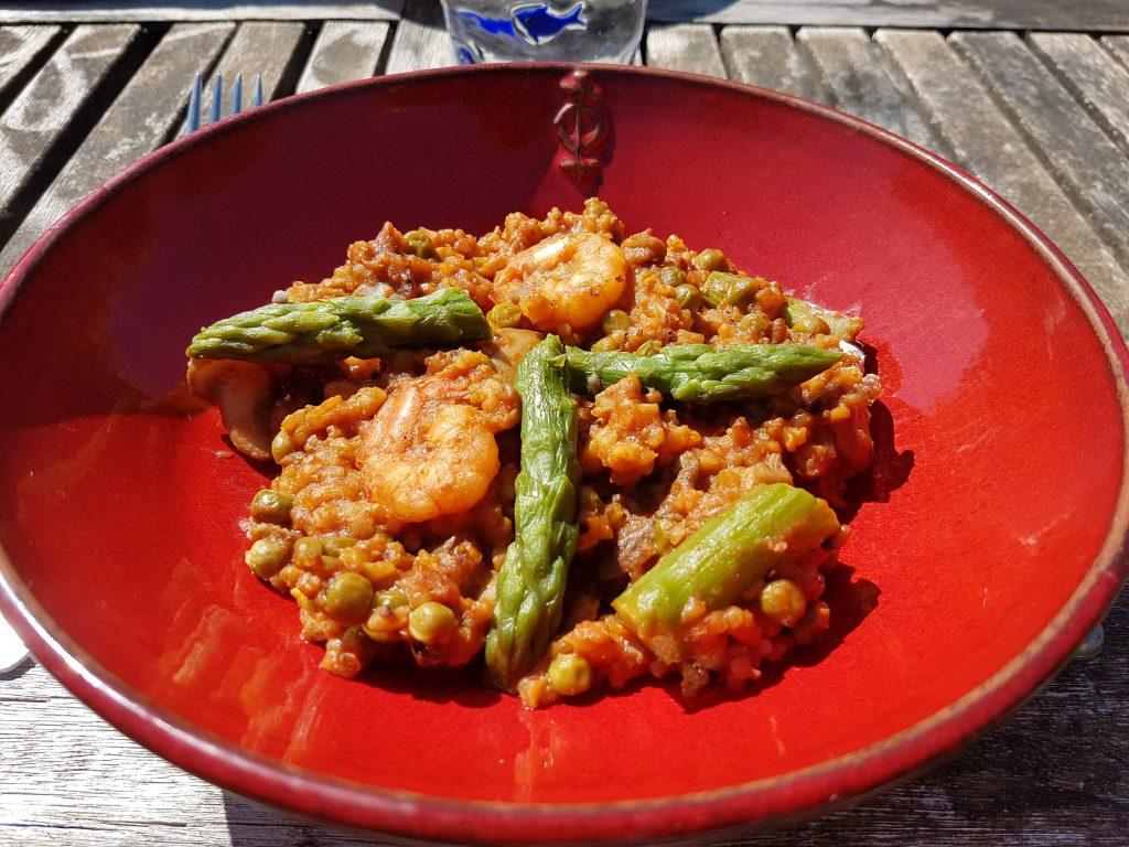 recette paella riz asperges