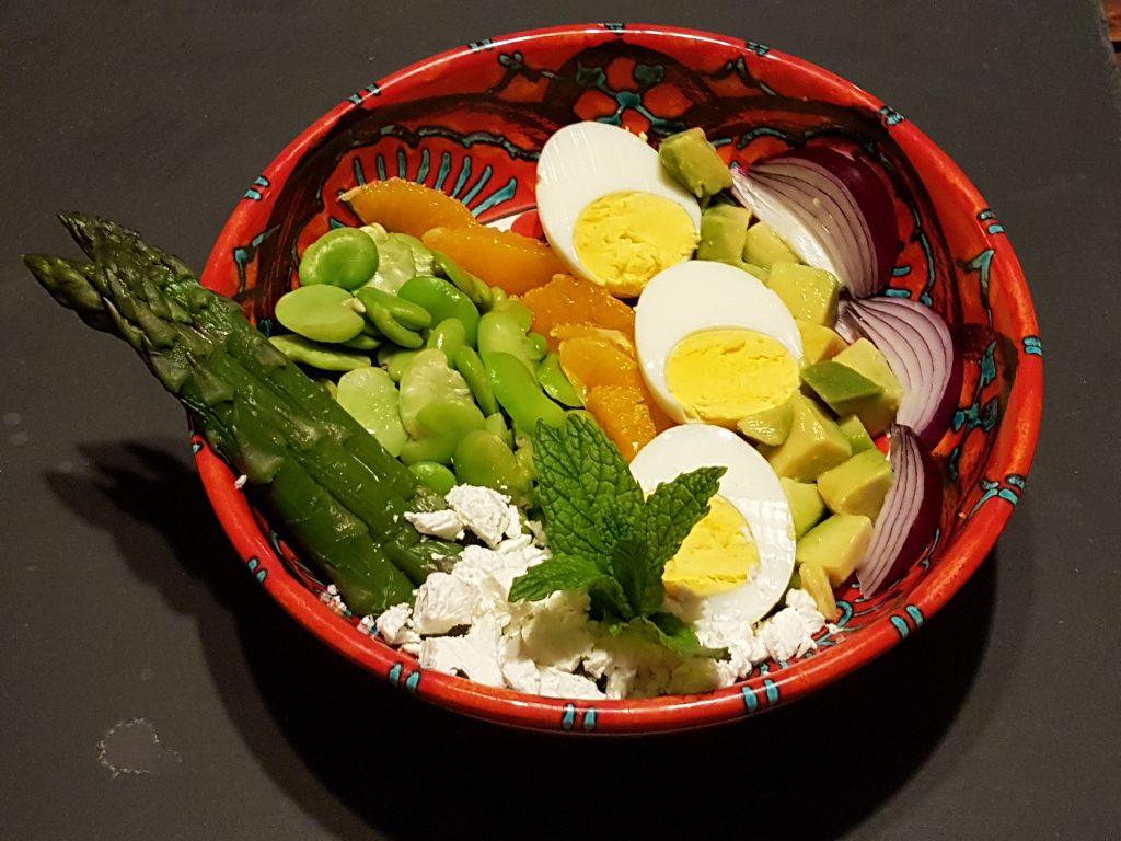 recette buddha bowl asperges feves