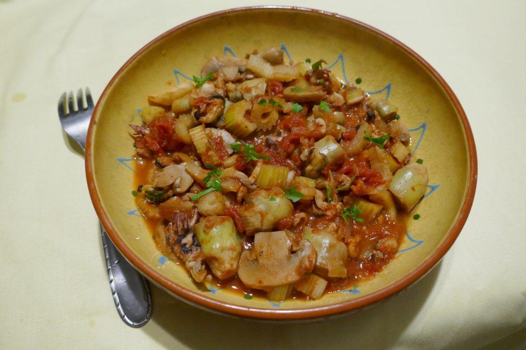 recette mijote fruits de mer artichauts