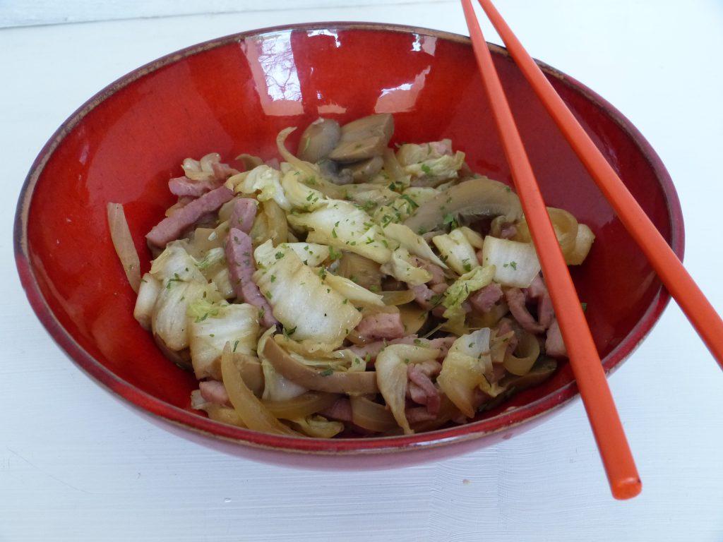 recette wok chou chinois champignons jambon