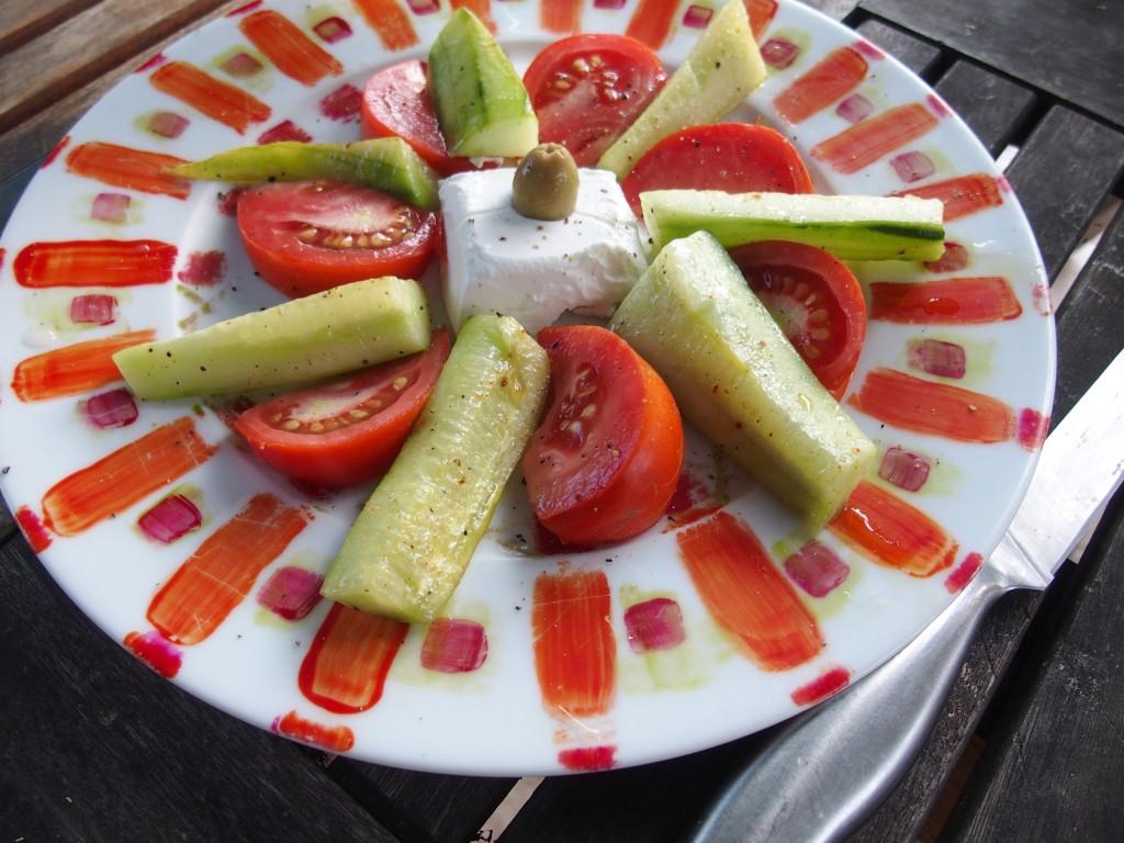 recette salade concombre chèvre tomates