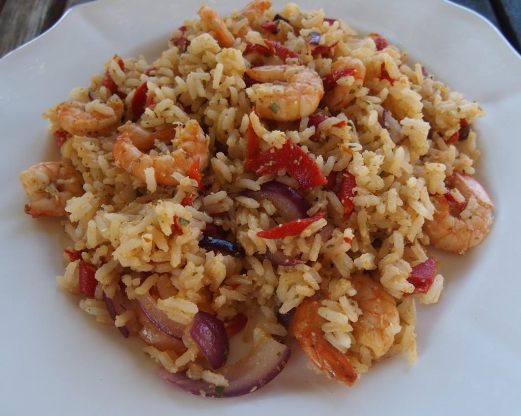 recette riz crevettes poivron