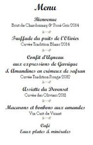 menu chateau virant