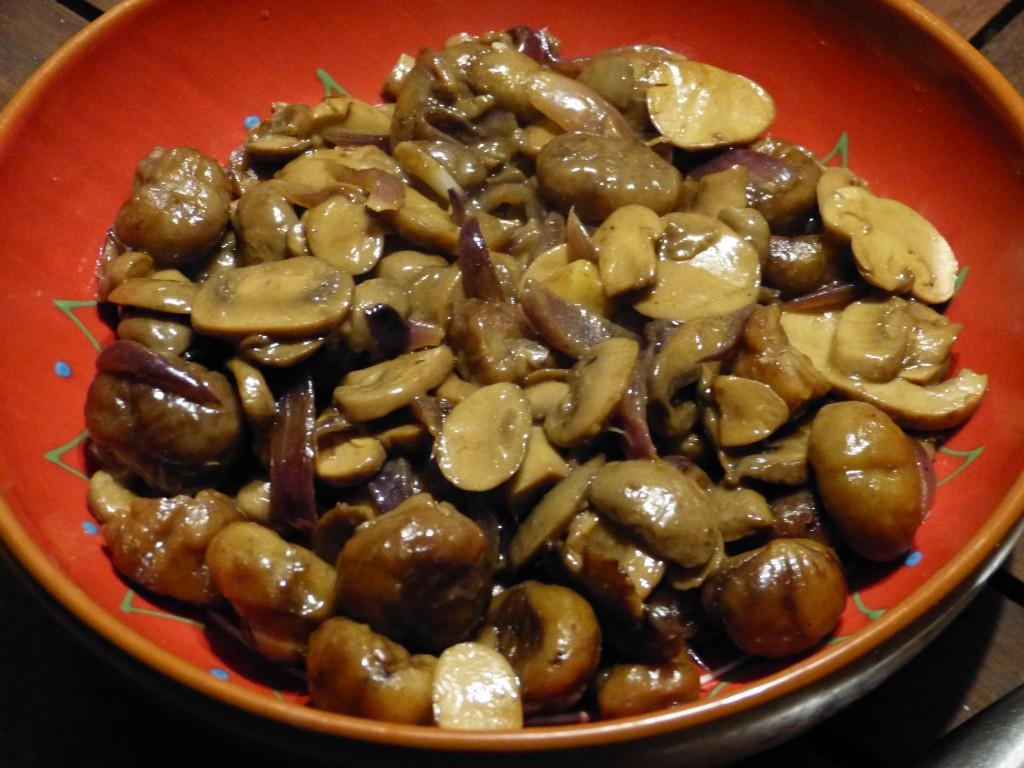 recette chataignes champignons