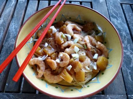 recette crevettes nouilles riz ananas