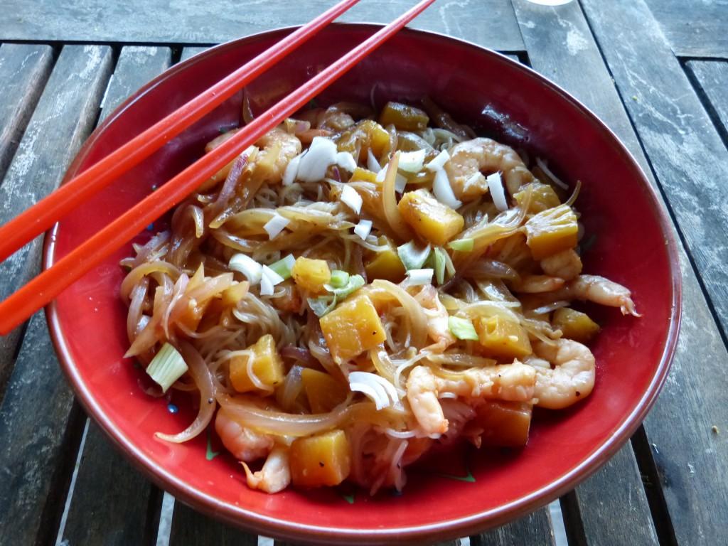 recette nouilles riz crevettes ananas