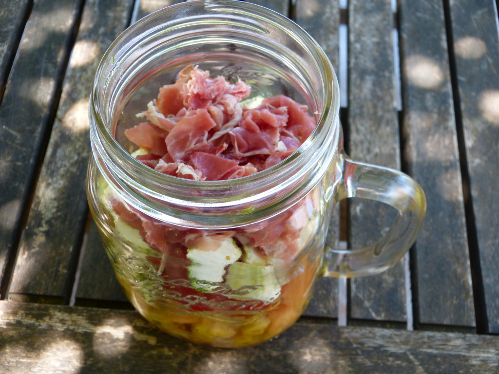 recette salade bocal mais jambon