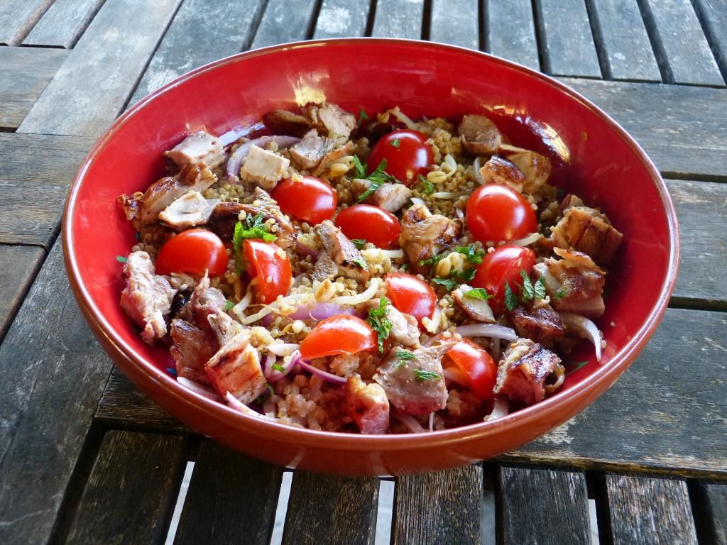 recette salade poulet quinoa tomates