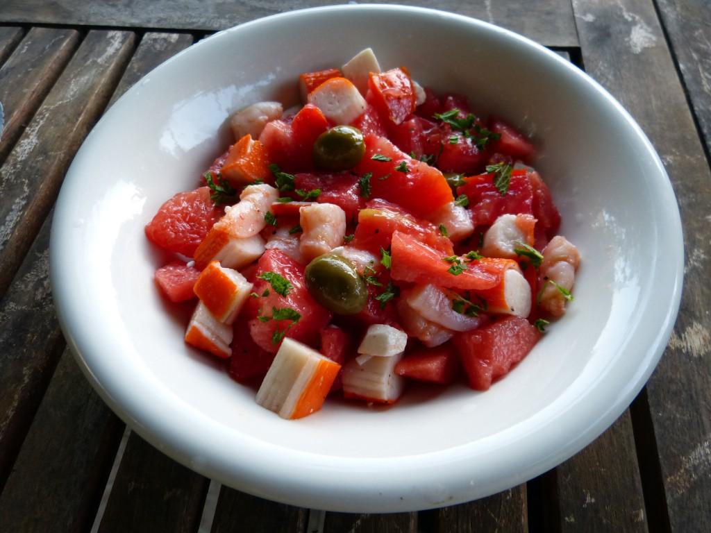 recette salade tomate pasteque crevettes