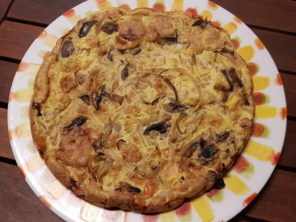 recette omelette crevettes champignons