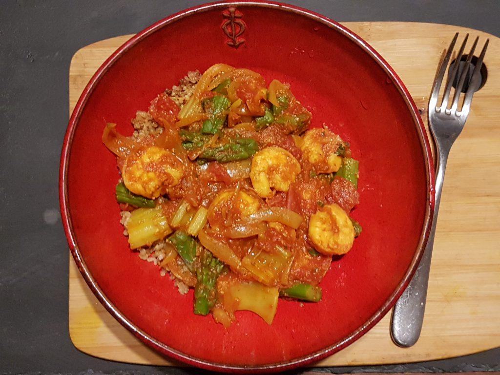 recette crevettes asperges celeri