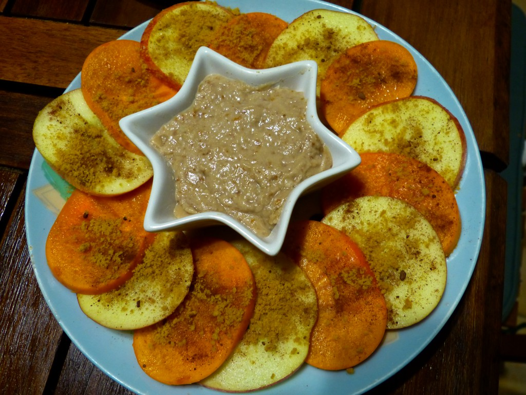 recette carpaccio kaki pomme amande