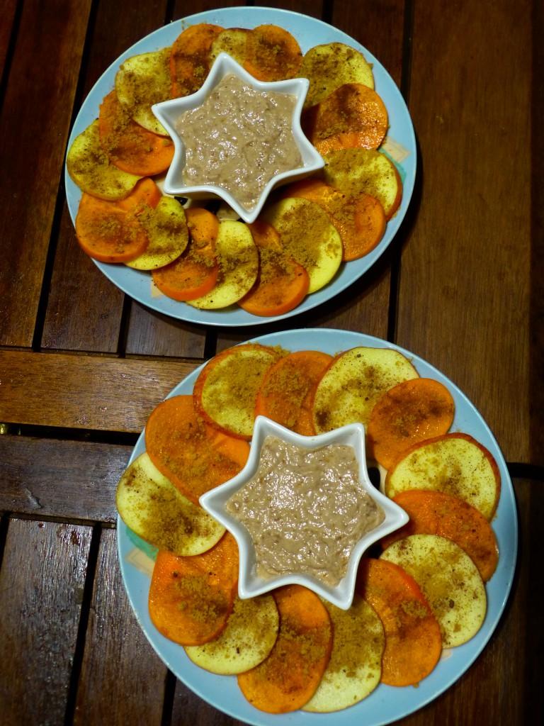 recette carpaccio kaki pomme amandes