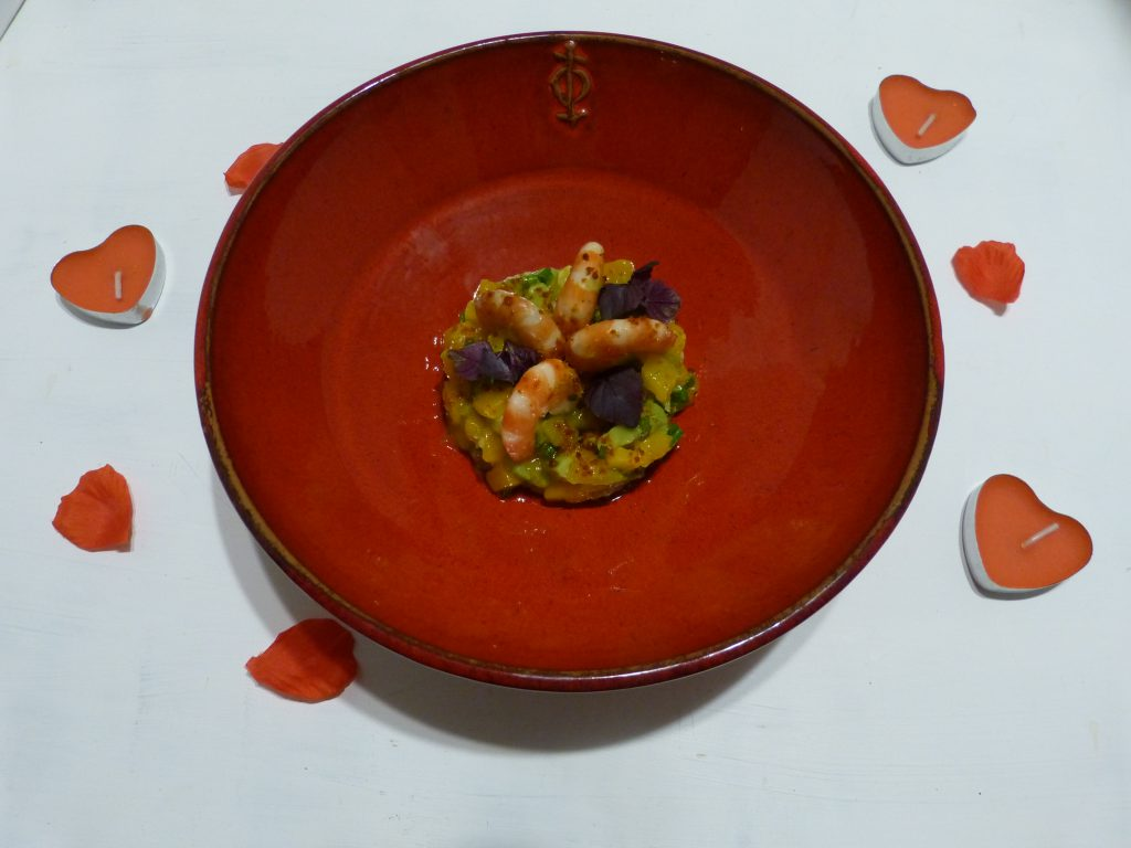 recette tartare avocat mangue crevettes