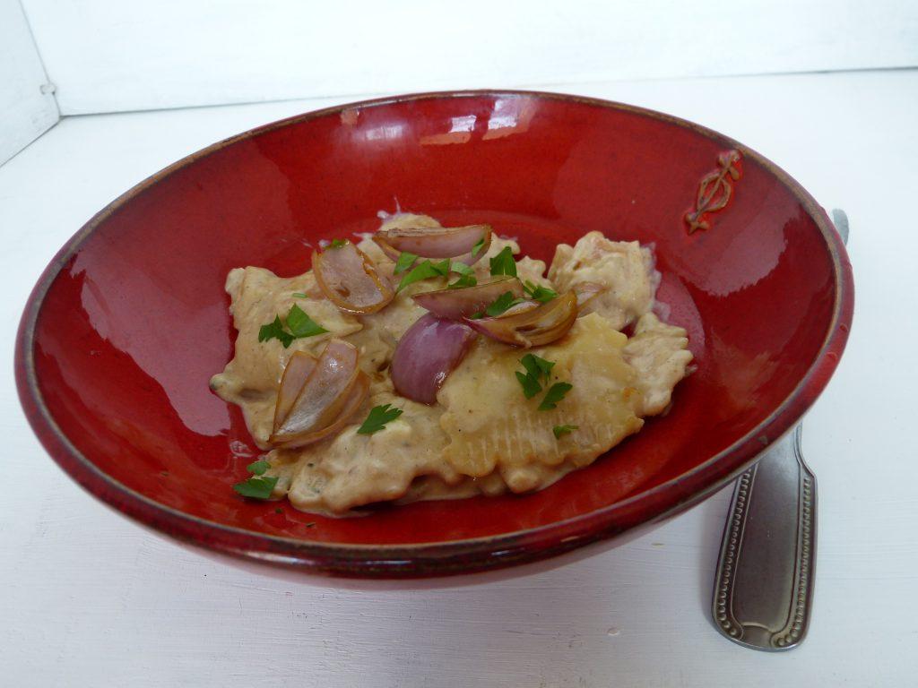 recette raviolis roquefort échalotes