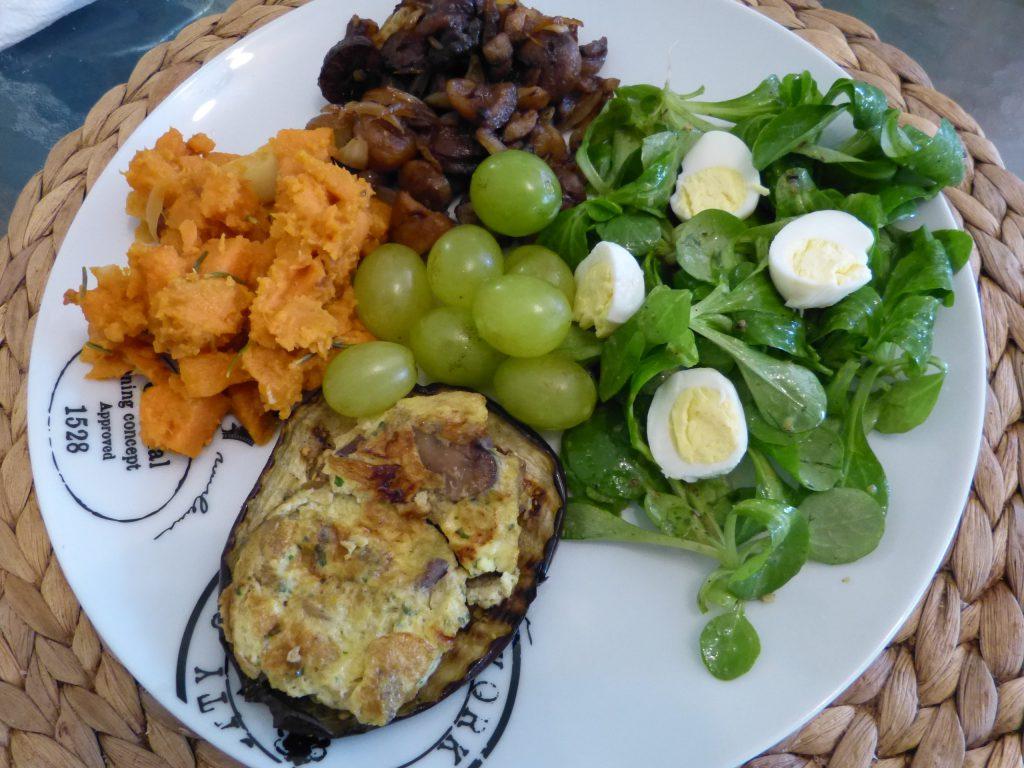 recette aubergines omelette champignons