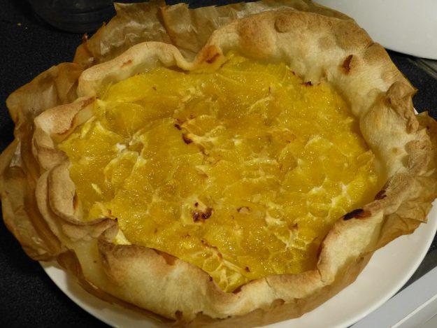 Une délicieuse tarte fine à l'orange et au rhum