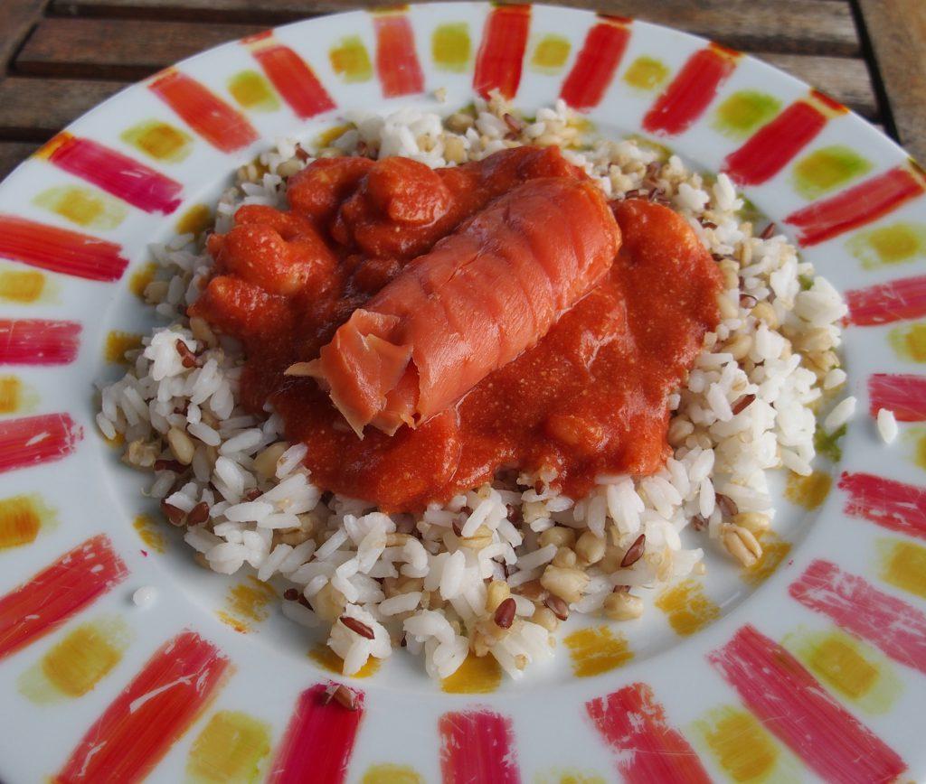 recette crevettes saumon fume