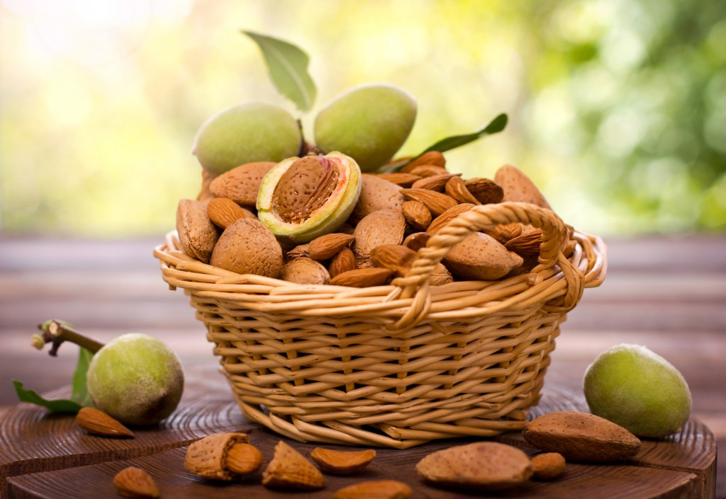 Fresh almonds in the basket