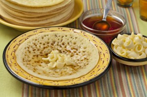Moroccan pancakes with butter and honey