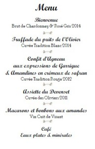 menu chateau virant