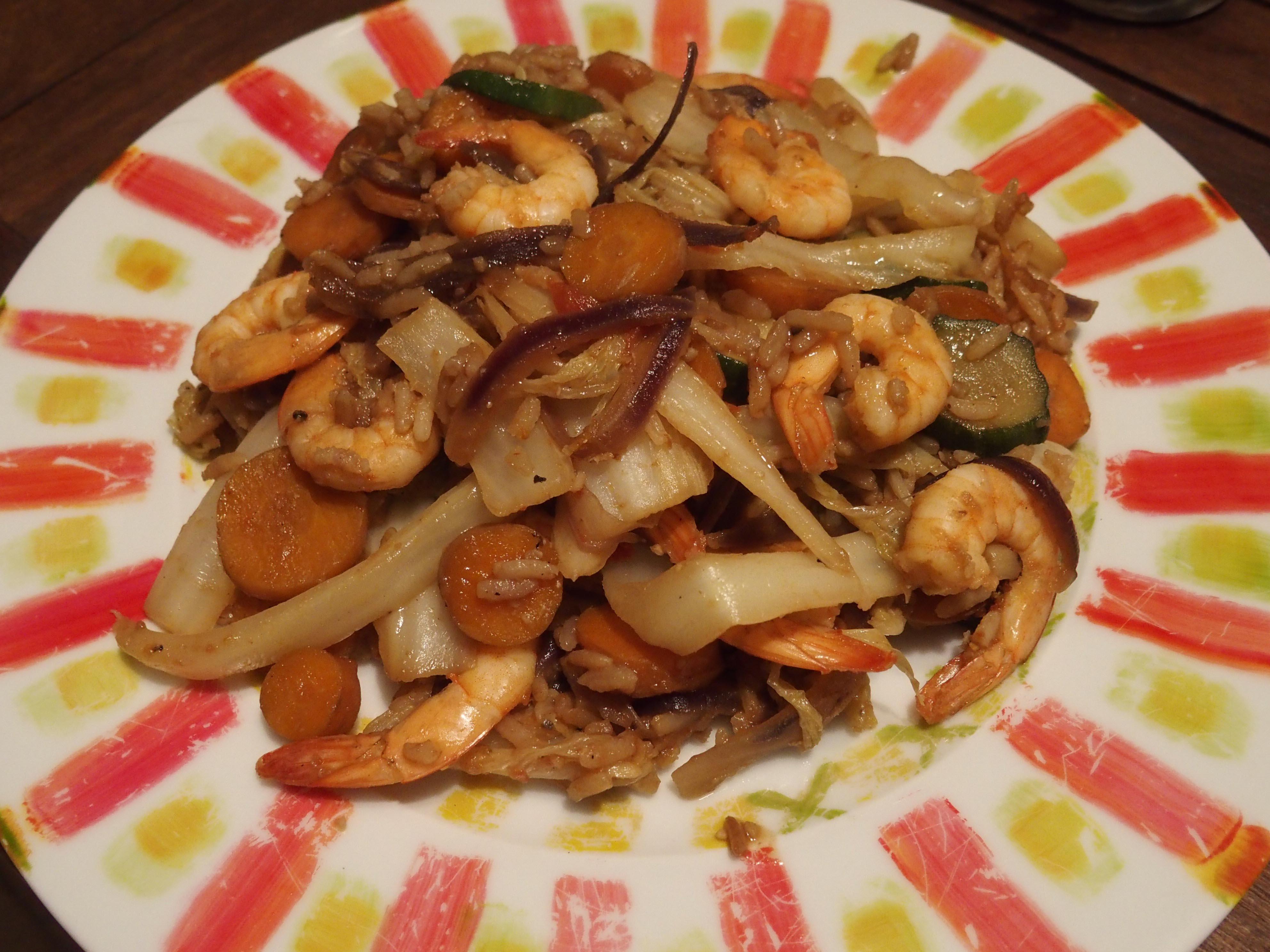 Poêlée de chou chinois aux crevettes