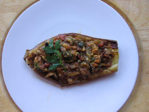 Aubergine farcies au crabe façon cajun