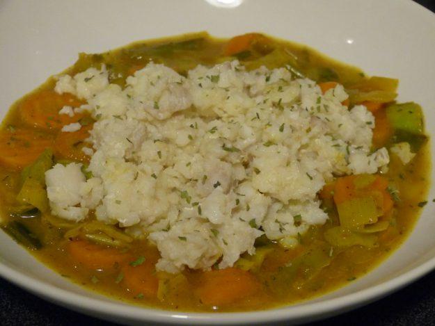 Cabillaud mijoté aux épices et légumes