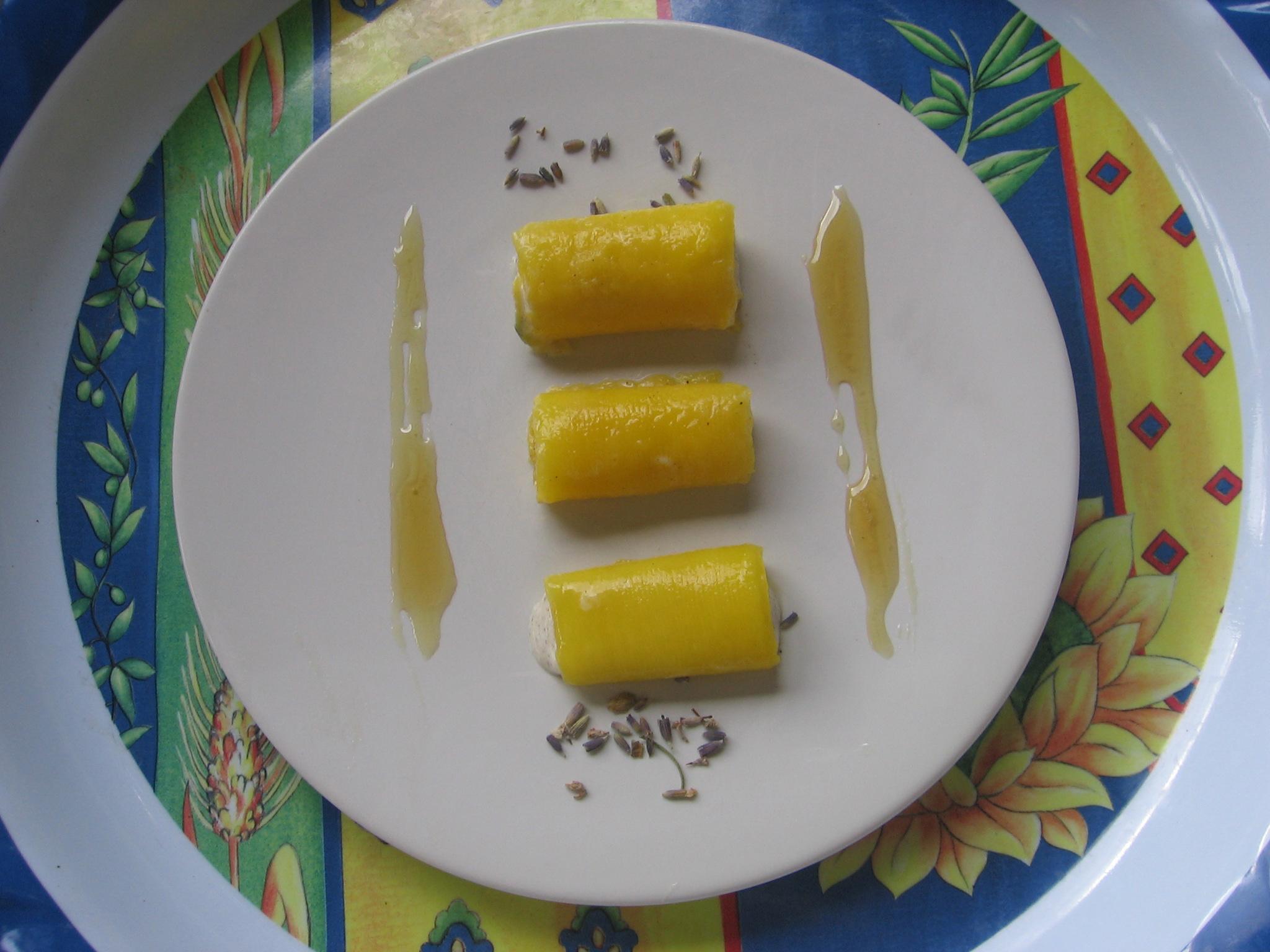 Cannelloni de mangue au miel de lavande