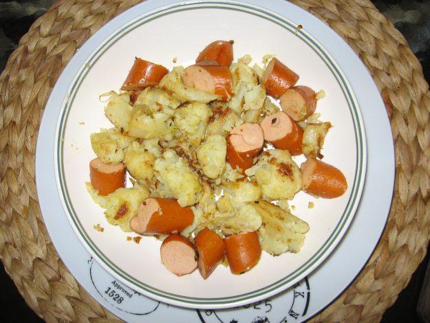 Une recette originale : le chou-fleur aux knacks de poulet