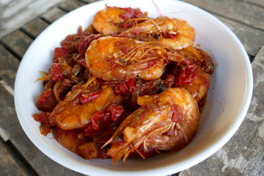 recette crevettes tomates poivrons