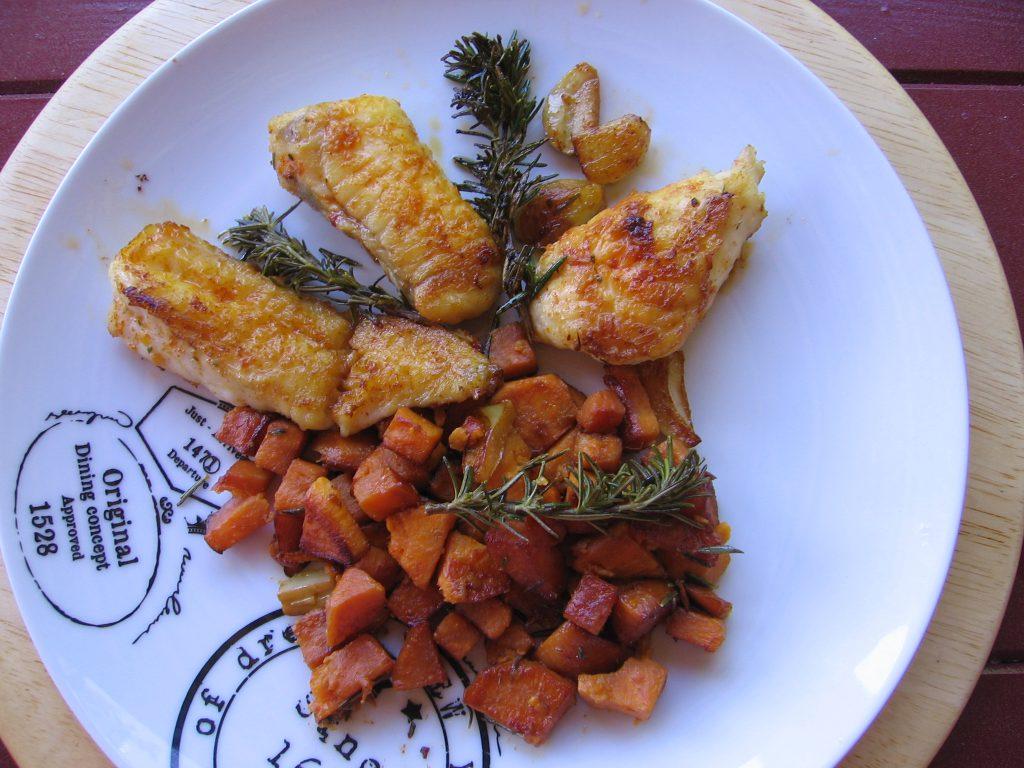 recette lotte patates douces ail