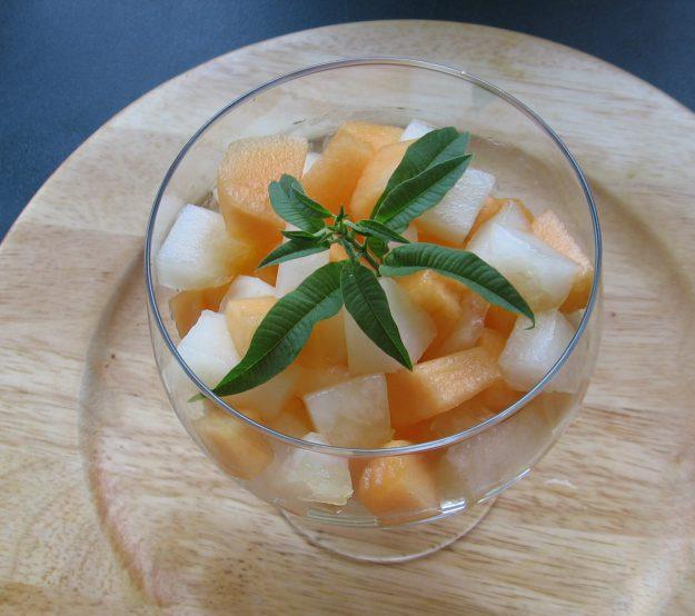 Duo de melons à l'infusion de verveine