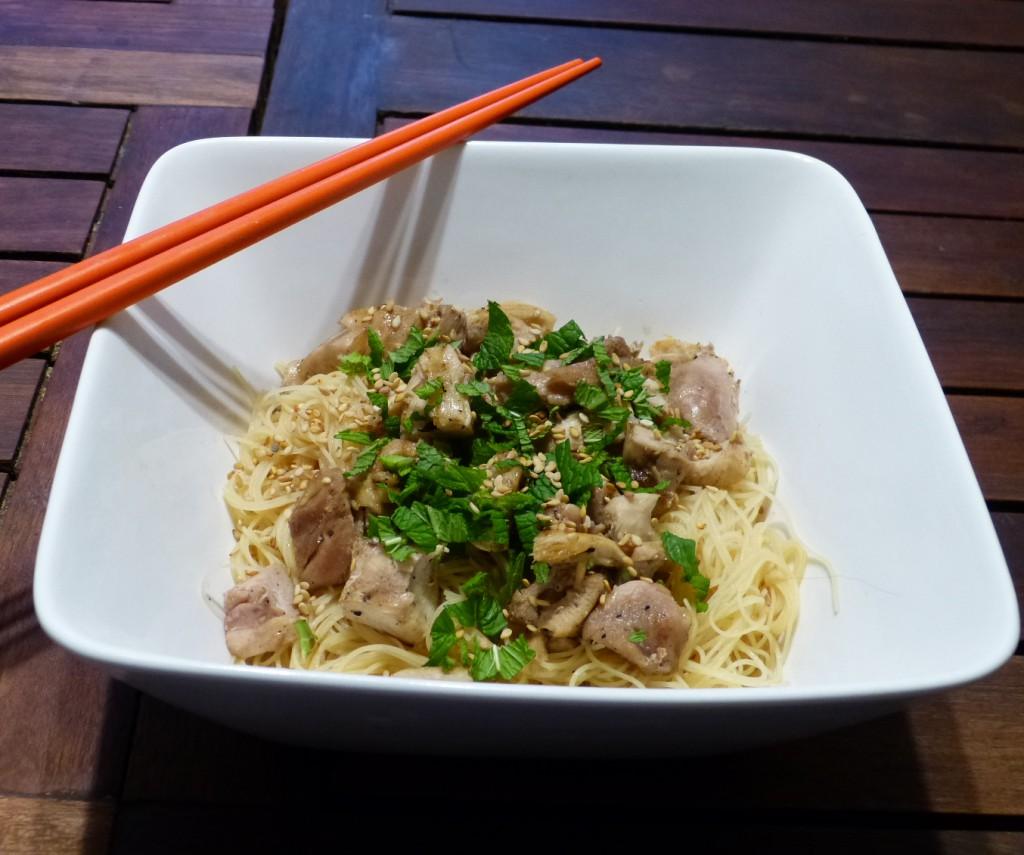 recette nouilles poulet menthe