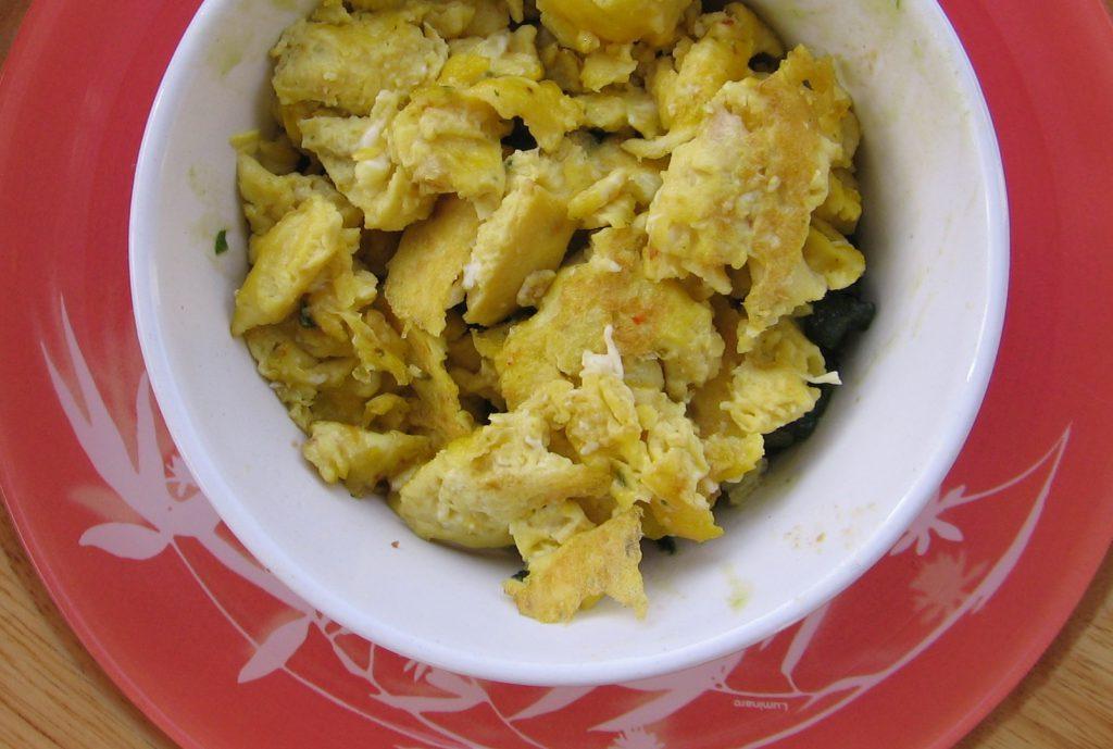 recette oeufs brouilles epinards