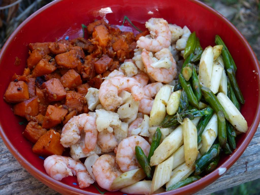 recette power bowl patates douces asperges crevettes