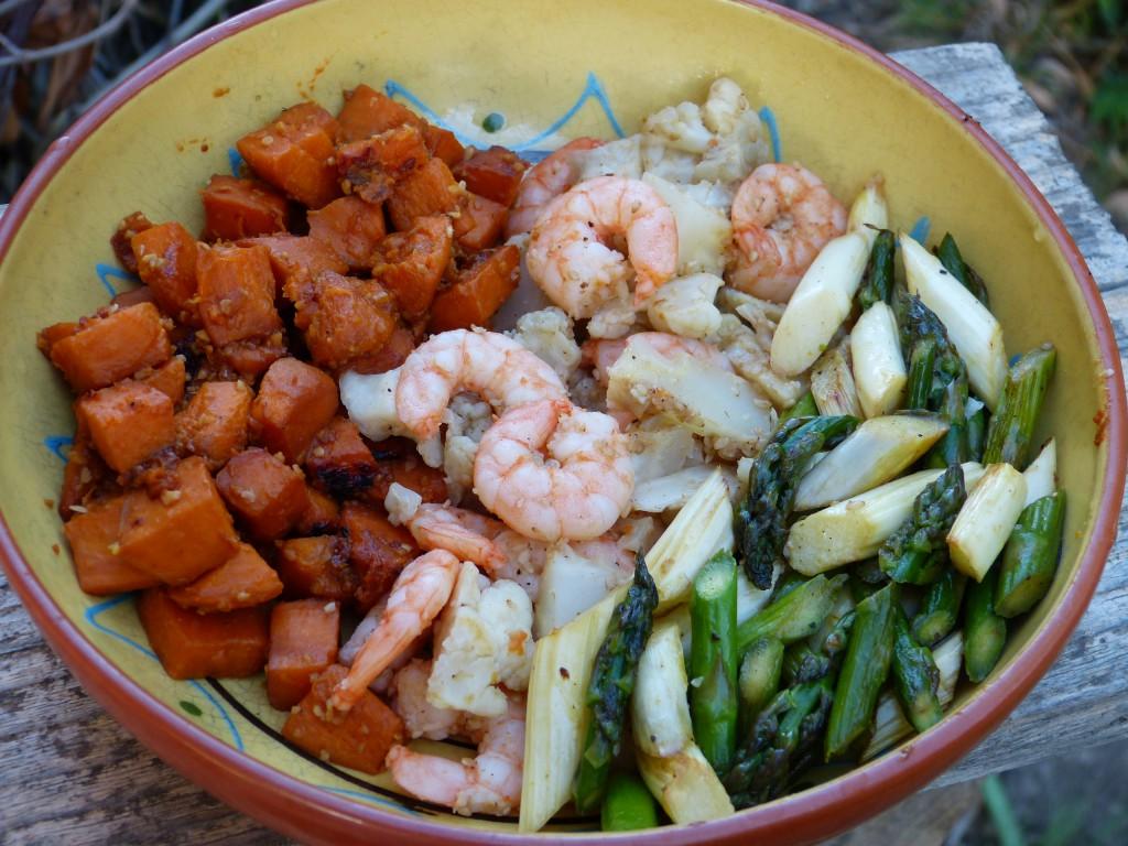 recette power bowl patates douces crevettes asperges