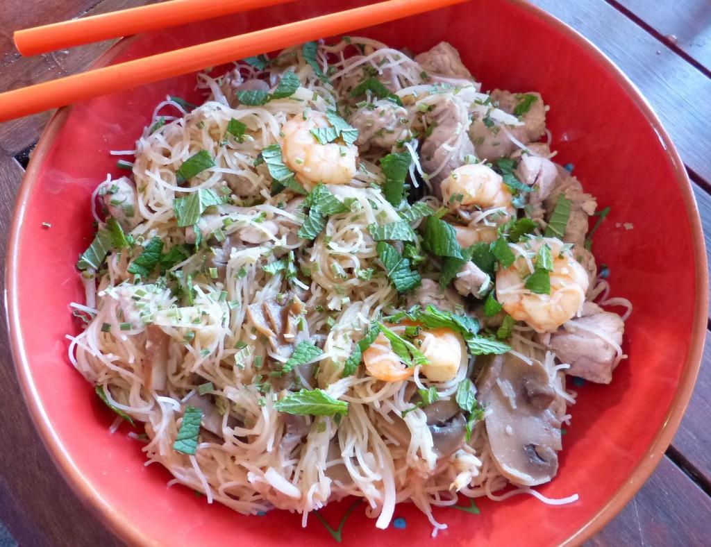 recette vermicelles dinde crevettes