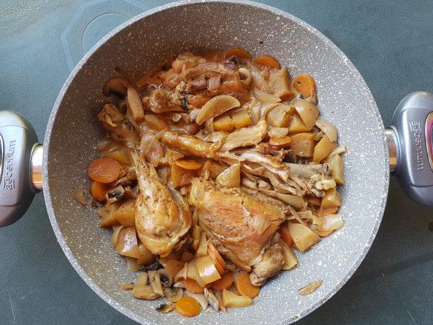 Wok de poulet et ses petits légumes au cidre