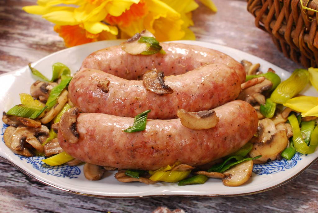 white sausage with mushrooms and leek for easter